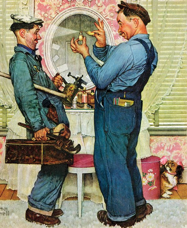 Rockwell knew Post readers would empathize with this pair of plumbers rather than with the uppity owner of the fancy boudoir. He hired two actual plumbers as models and asked them to bring their tools along. Norman Rockwell