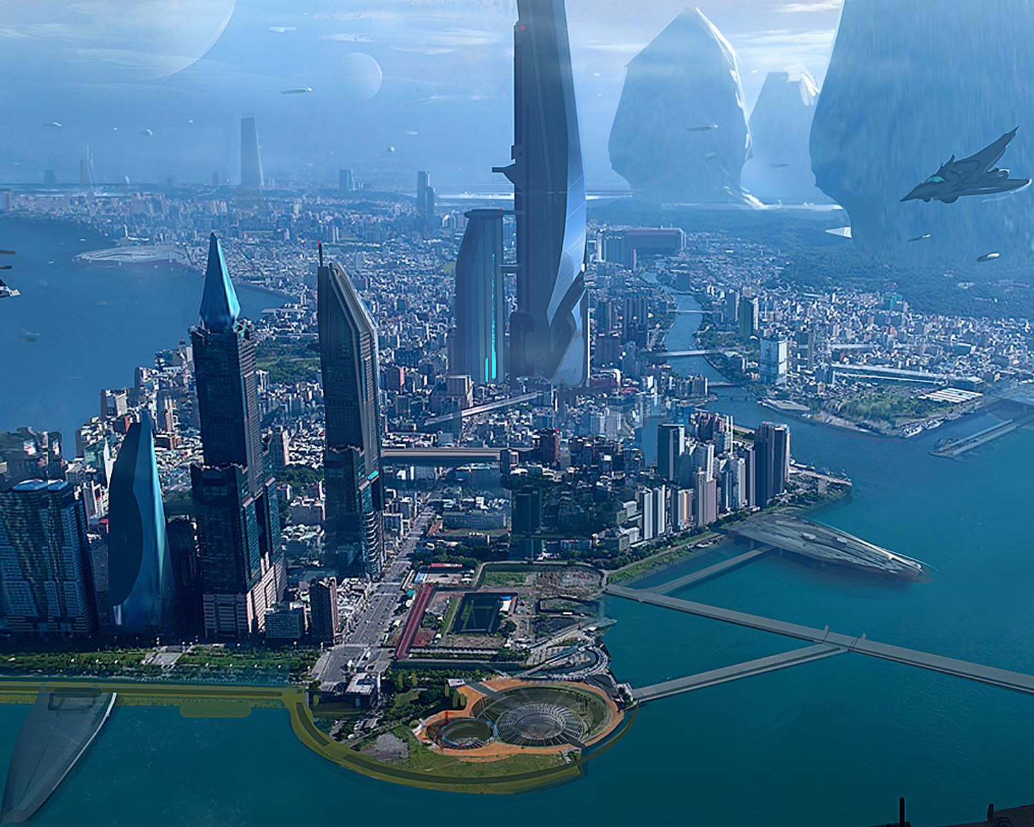 Futuristic scifi city on the planet of terra nova - but ...