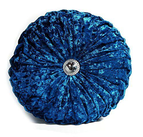 SILVER Cushion Crush Velvet Cushions Diamante Chic Filled Scatter Cushion Round