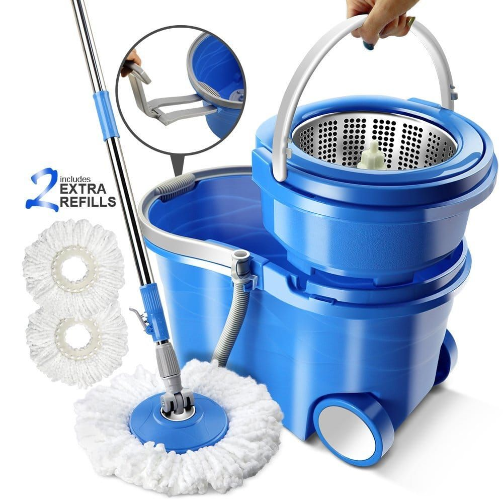 Replacement 360 Rotating Mop Easy Magic Microfiber Spinning Floor Mop Head Blue