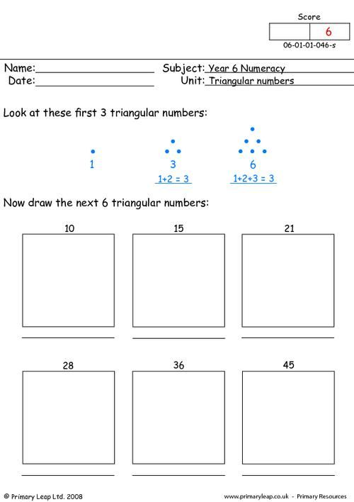 triangular numbers 1 worksheet year 7 triangular numbers grade 6 math. Black Bedroom Furniture Sets. Home Design Ideas