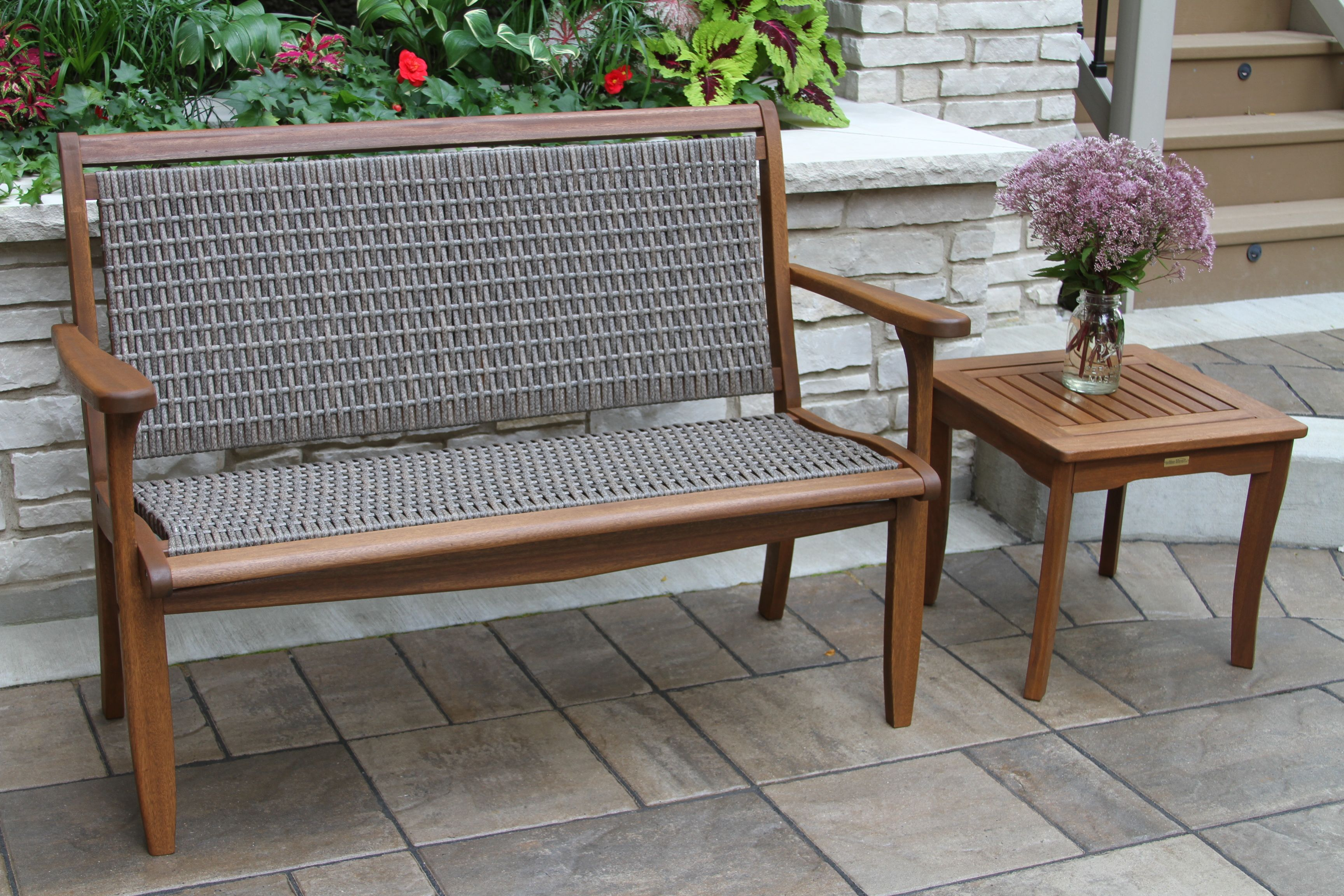 Wicker & Eucalyptus Bench in Grey with End Table