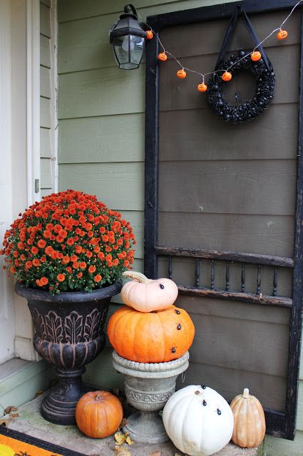 Front Porch Fall and Halloween Decorating On My Blog