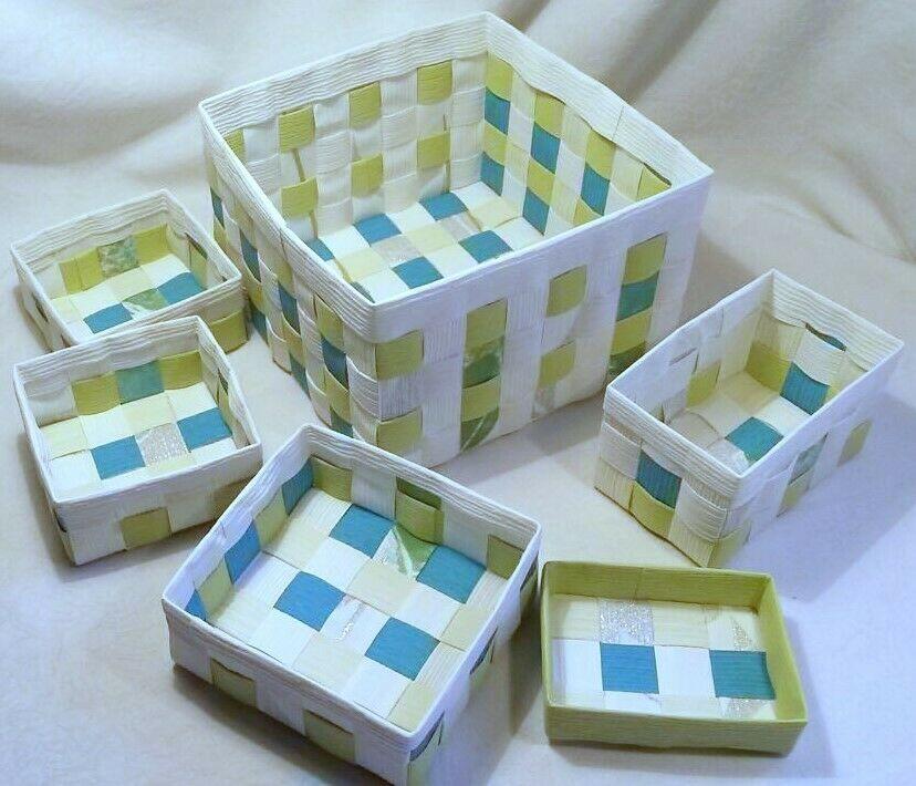 Aufbewahrungsboxen 6tlg Geflochten Korb Box Badezimmer Kiste Handarbeit In 2020 Geflochtener Korb Aufbewahrungsbox Kiste