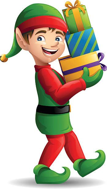 Christmas Elf Carrying Presents Christmas Drawing Santa Claus Photos Holiday Woodworking Projects