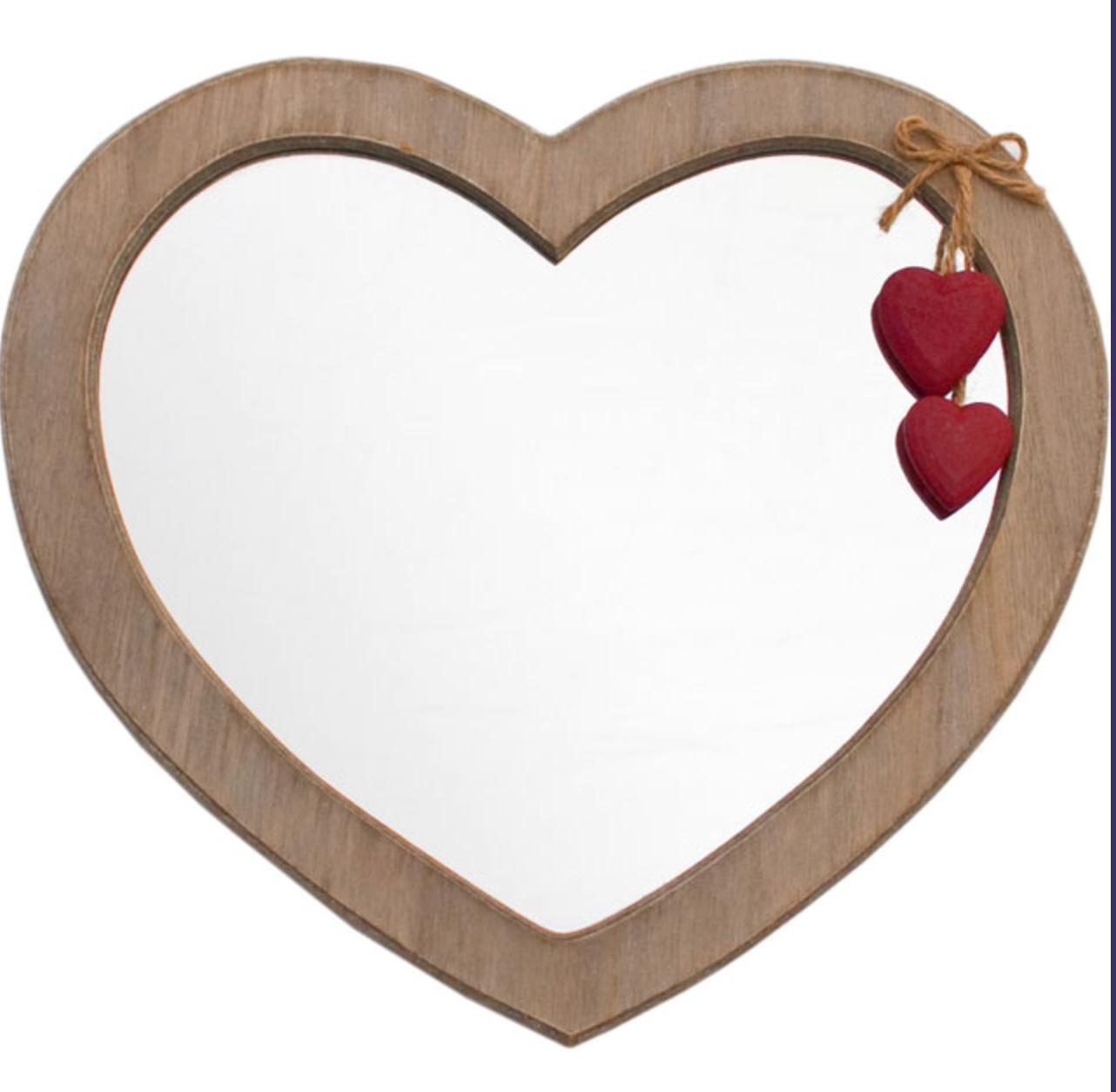Wooden Frame Heart Shaped Mirror Wooden Mirror Heart Decorations Heart Mirror
