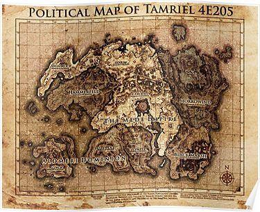 Skyrim political map Tamriel Poster | Products | Elder Scrolls ...