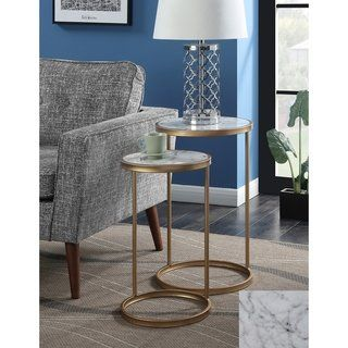 fd5c22a30fb3c Shop Silver Orchid Hasmik Faux Marble Nesting End Tables - Free Shipping  Today - Overstock.com - 23122843