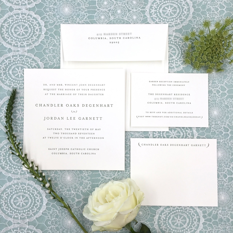 Square Minimal Letterpress Custom Wedding Invitation • ByFarr Design ...