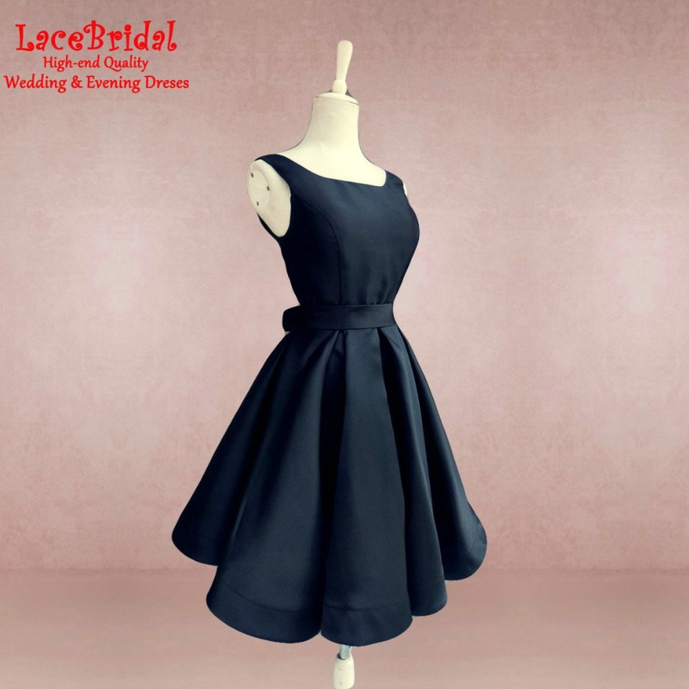 Lovely navy blue satin homecoming dresses knee length bow semi