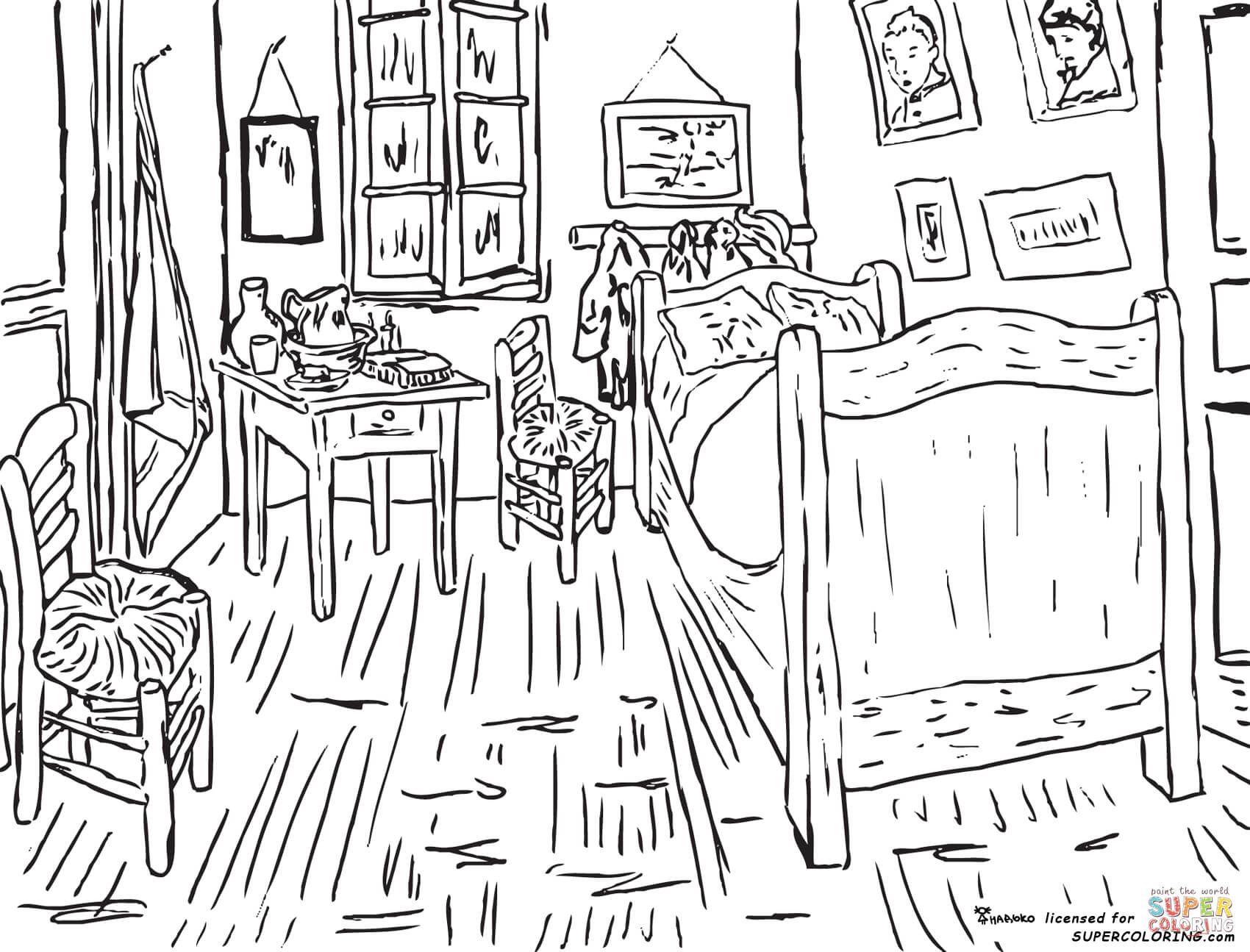 Disegno Da Colorare Di La Camera Di Vincent Ad Arles Di Vincent Van