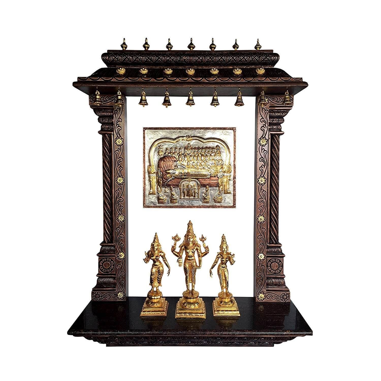 Gold Coated Pooja Mandir | rangoli | Pinterest | Puja room, Room and ...