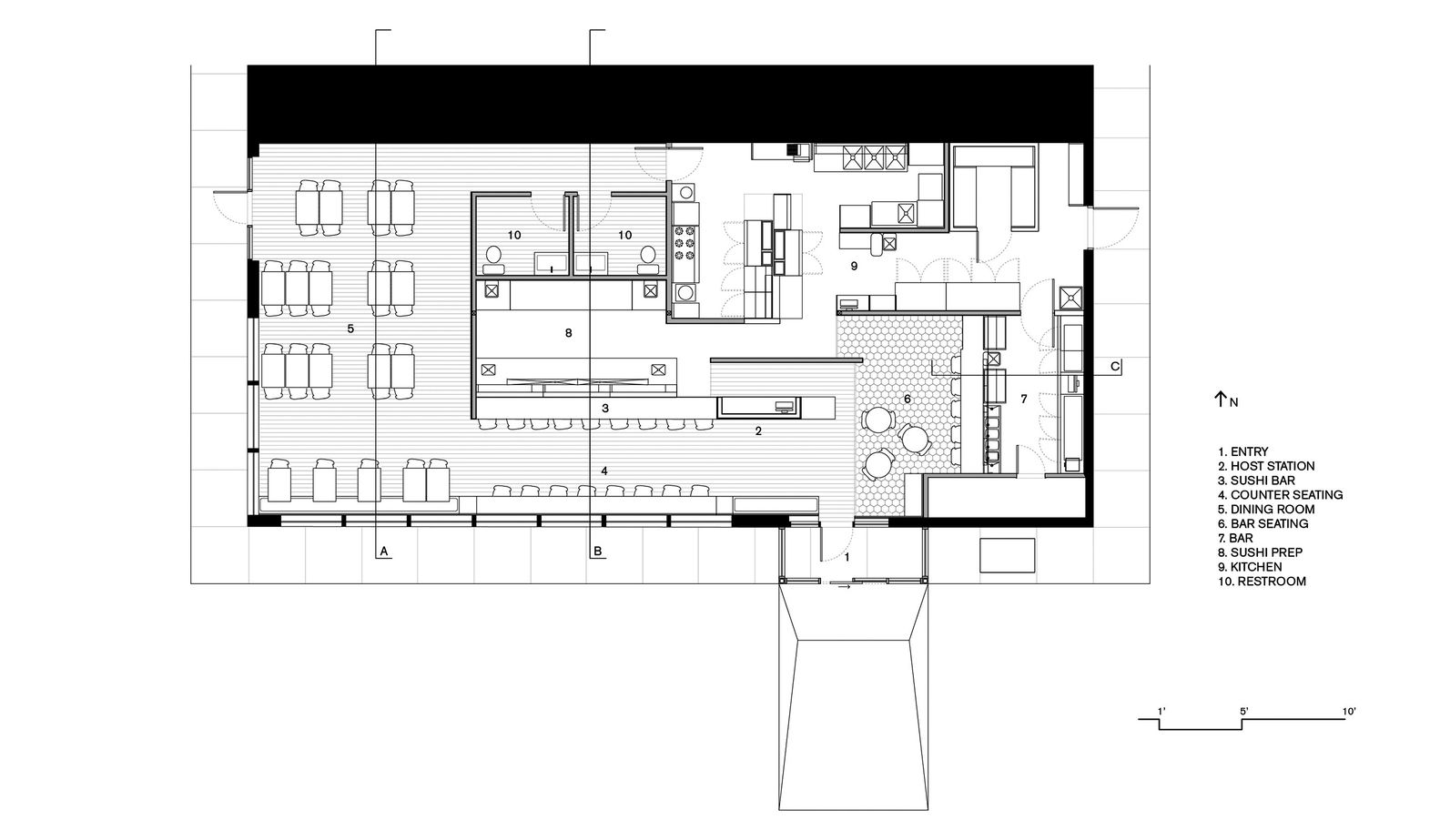 gallery aka sushi synecdoche design studio daub lab 14 restaurant plan [ 1582 x 923 Pixel ]