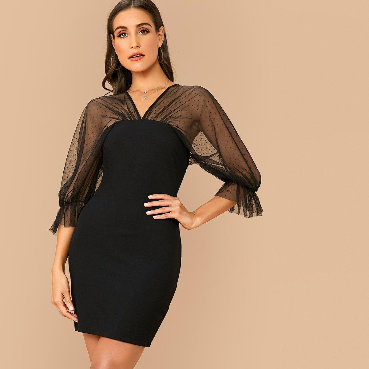 V Neck Swiss Dot Mesh Sleeve Dress Mesh Sleeved Dress Dresses With Sleeves Mesh Sleeves [ 1200 x 1200 Pixel ]