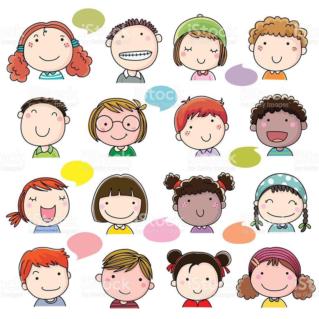 Hand Drawn Children Faces Set Royalty Free Stock Vector Art Cosas Lindas Para Dibujar Dibujar Caricaturas Rostros De Dibujos Animados