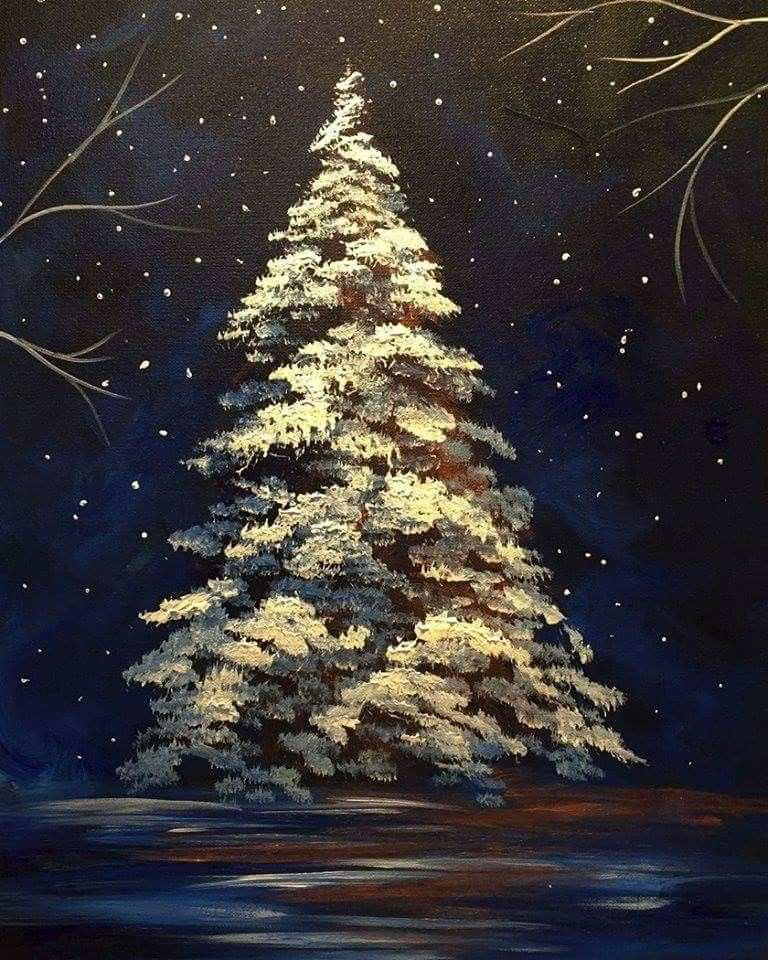 Sponge Paint Pretty Christmas Tree Christmas Tree Painting Tree Painting Christmas Tree Drawing