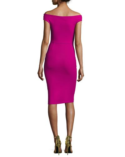 TVN0S La Petite Robe di Chiara Boni Maureen Ruched Jersey Sheath Dress, Fuchsia