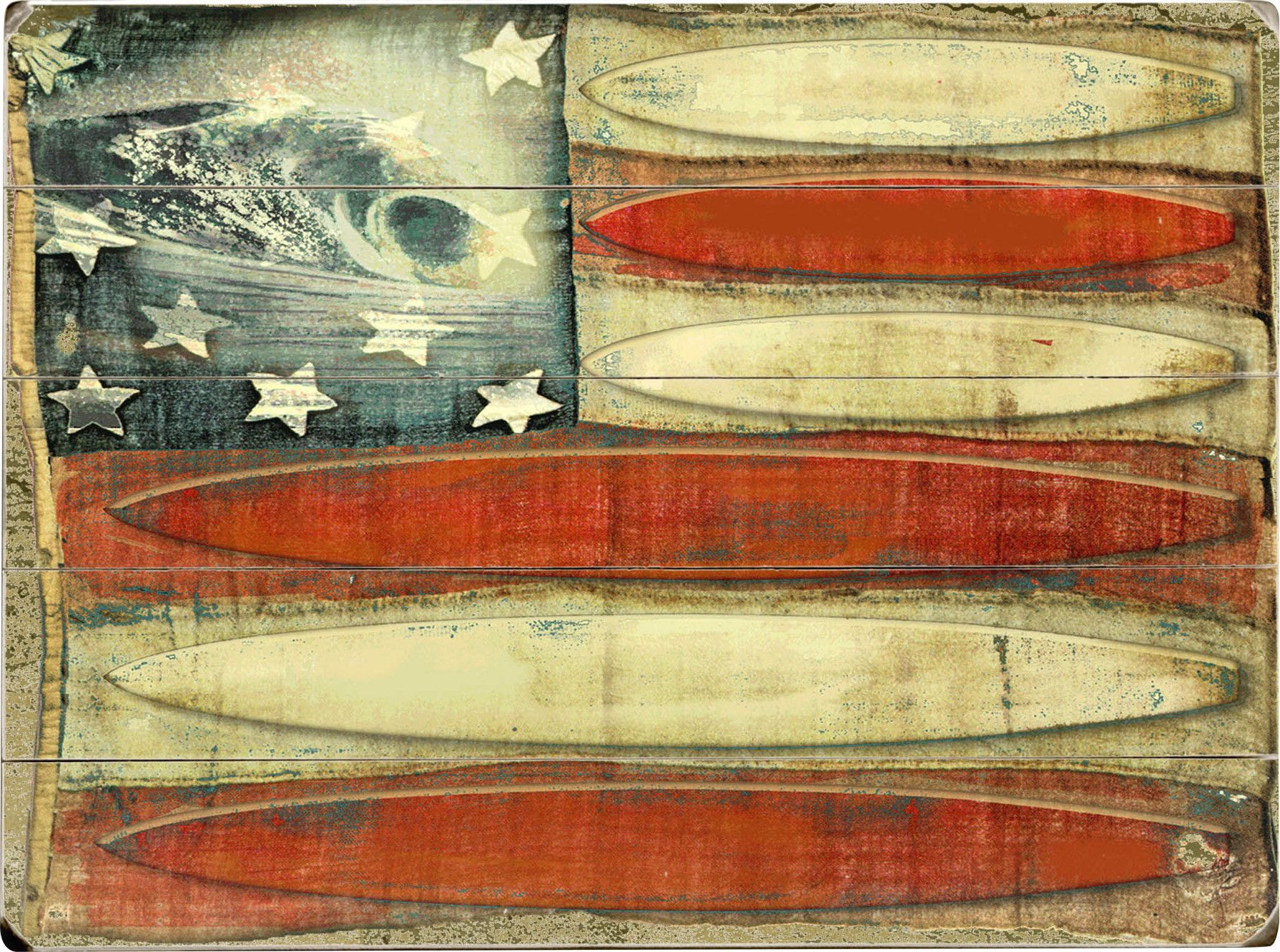 American Flag Surfboards Wall Décor | 4th of July Designs for WUA ...