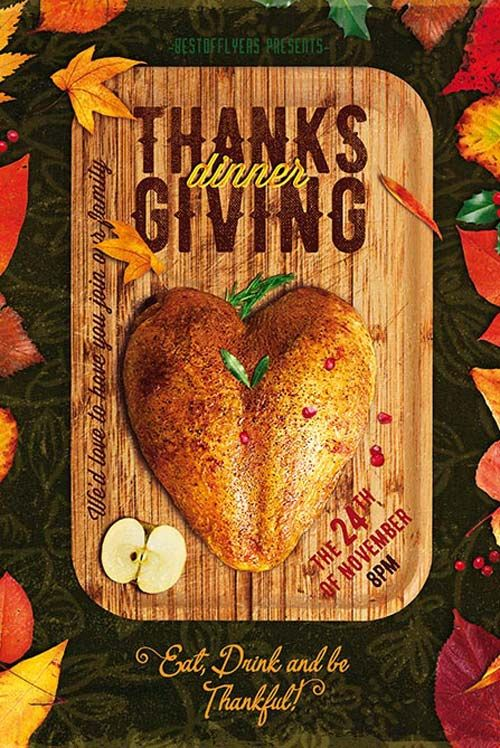 Thanksgiving Dinner Free Poster And Flyer Psd Template  Http