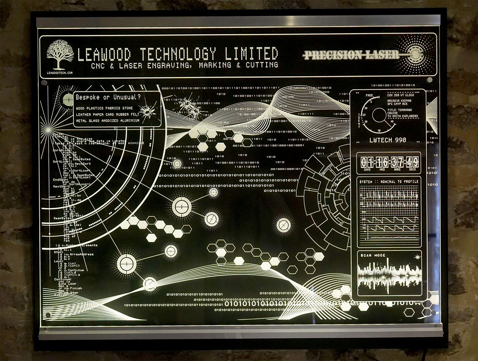 Huge Laser Engraved And Led Edge Lit Acrylic Panel