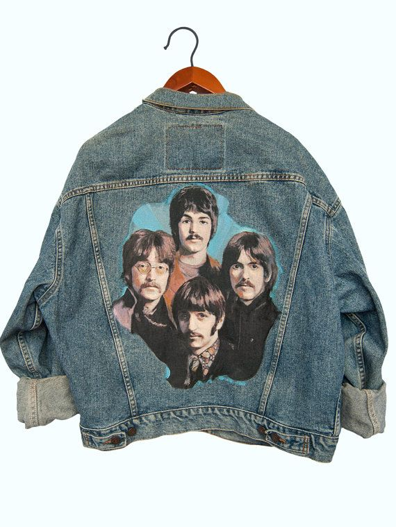 Custom printed & painted Beatles Denim Levis Jacket  Free Shipping