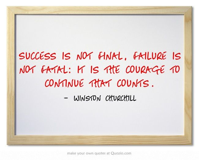 Success is not final, failure is not fatal: it is the courage to...