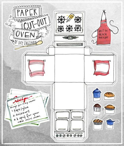 Paper Cutout Oven Food Illustration Retro Oven