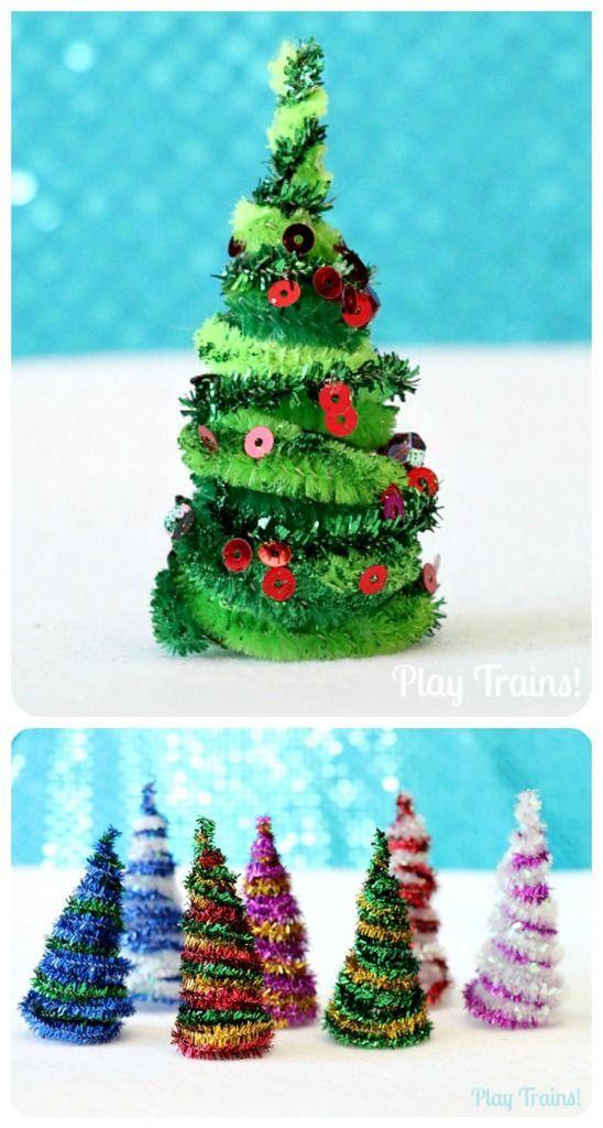 Arboles de #Navidad con limpipas #Decoración