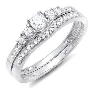 Sparkling Antique Matching wedding Ring set 1 Carat Diamond on 14k Gold $1,084.99