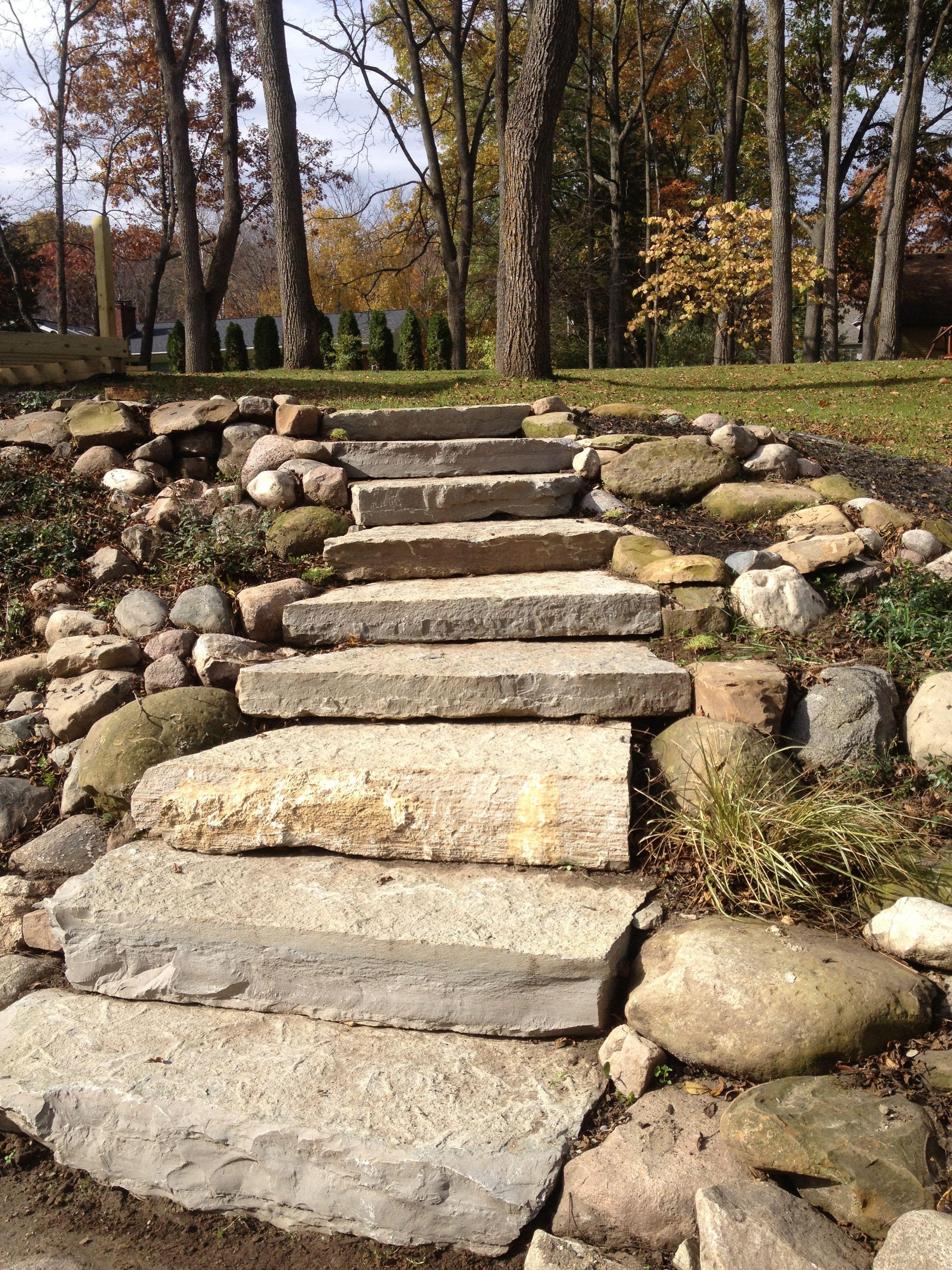 Limestone Steps All Natural Landscapes House Landscape Landscape Backyard Design