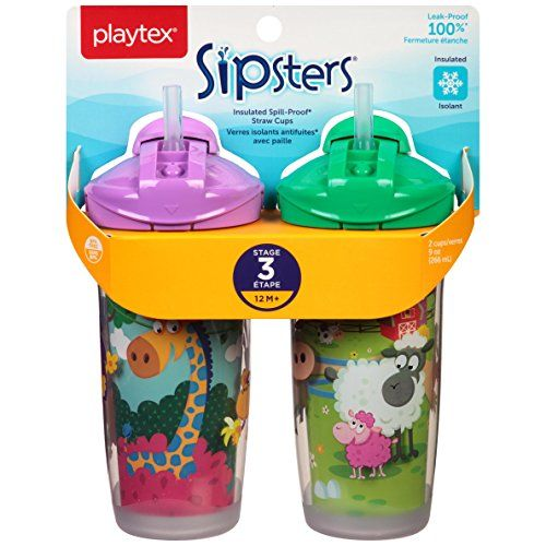Playtex Sipsters Stage 3 Spill-Proof Leak-Proof Break-Proof Insulated Spout