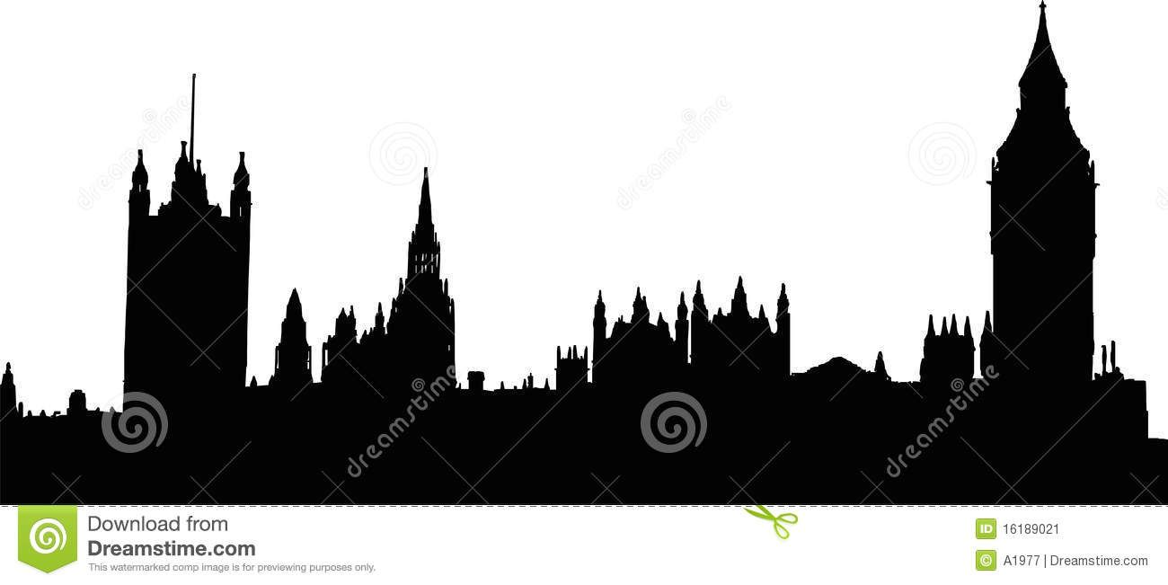 Victorian London Skyline Silhouette