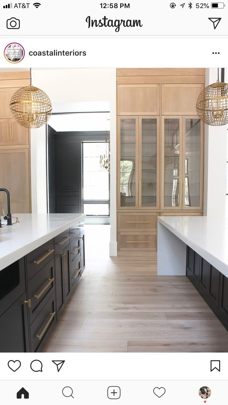 Dark Bases White Countertops Ash Wood Uppers And Perhaps One Full Cabinet Bay Of Wood Thinking Also In Modern Kitchen Design Modern Kitchen White Oak Kitchen