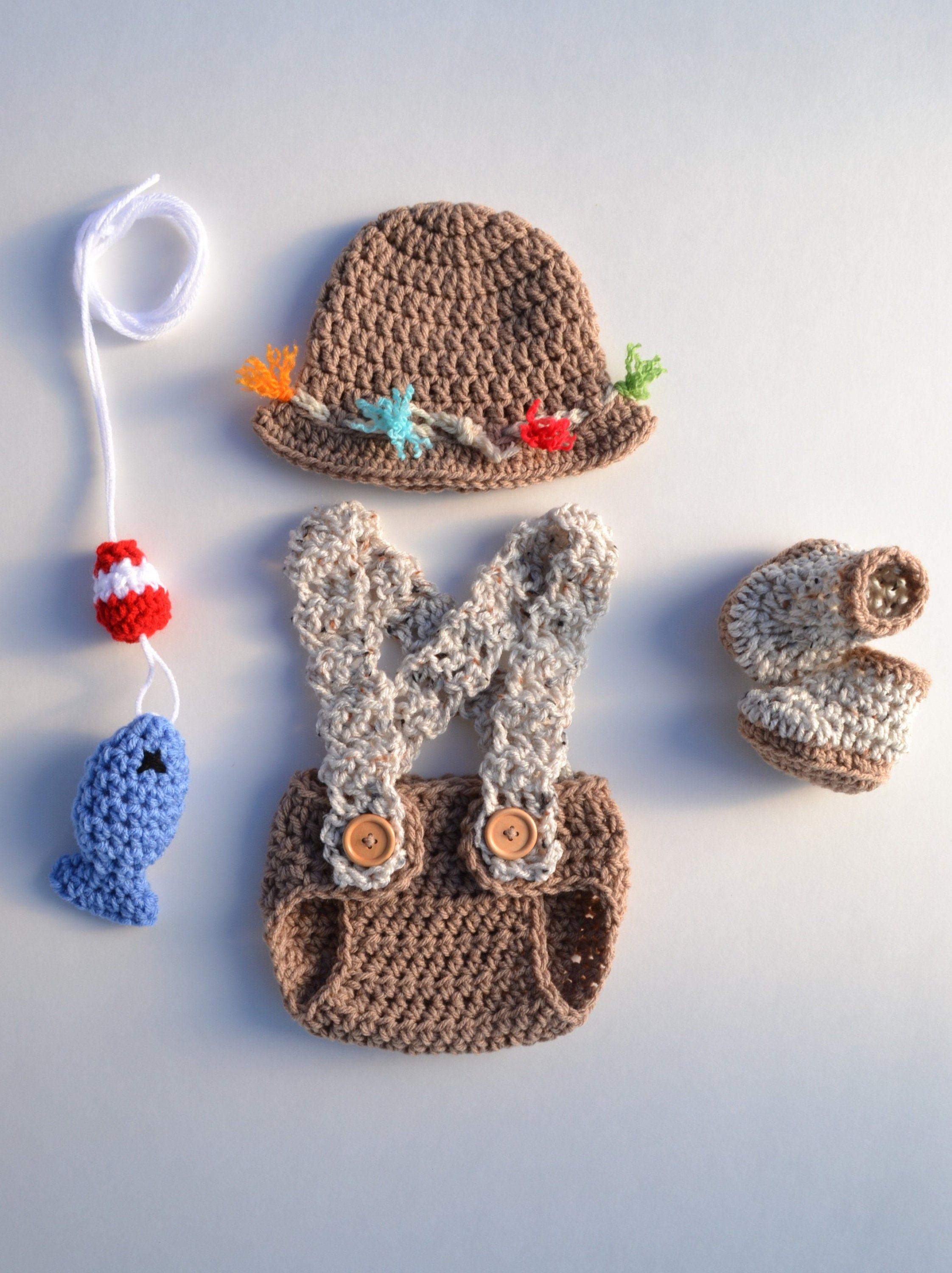Photo of Crochet Baby Fishing Outfit Fly Fishing Fishing Hat Newborn Boy Outfit Newborn Boy Photography Prop Newborn Boy Outfit Baby Boy Fishing