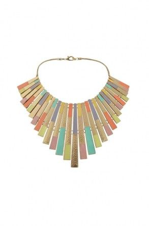 Beautiful hammered gold coloured metal collar necklace. Decorated with pastel enamel, in blocks of colour. Ideal for this season. £39.00