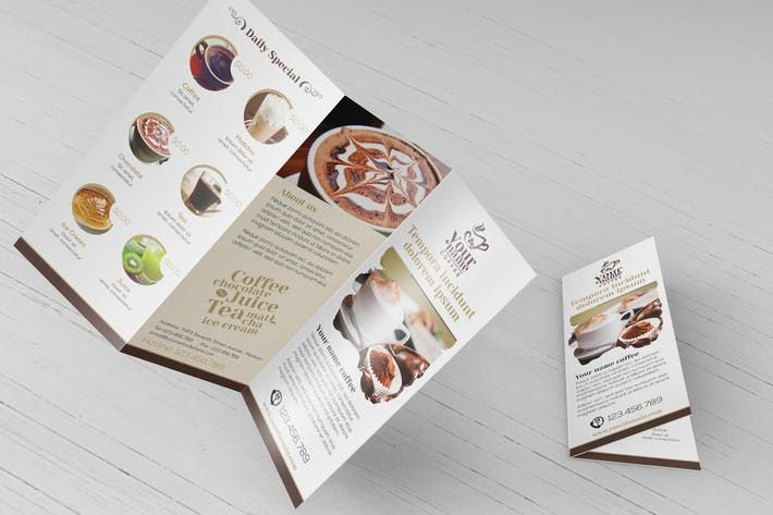 Coffee Shop  Trifold Brochure Template By Wutip  Design