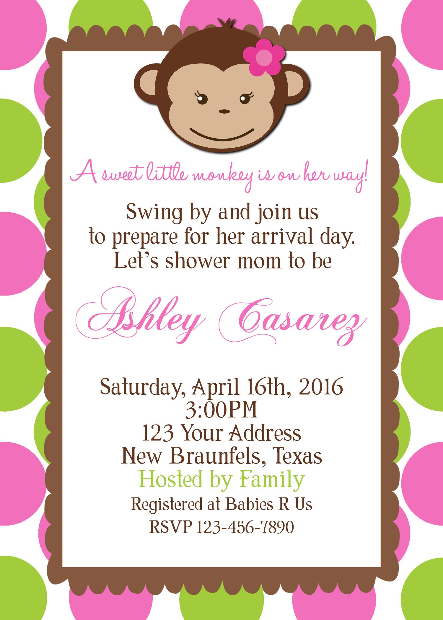 Monkey Baby Shower Invitation 4x6 https://m.facebook.com ...