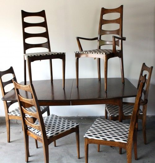 mid century dining table | mid century kroehler dining set. four