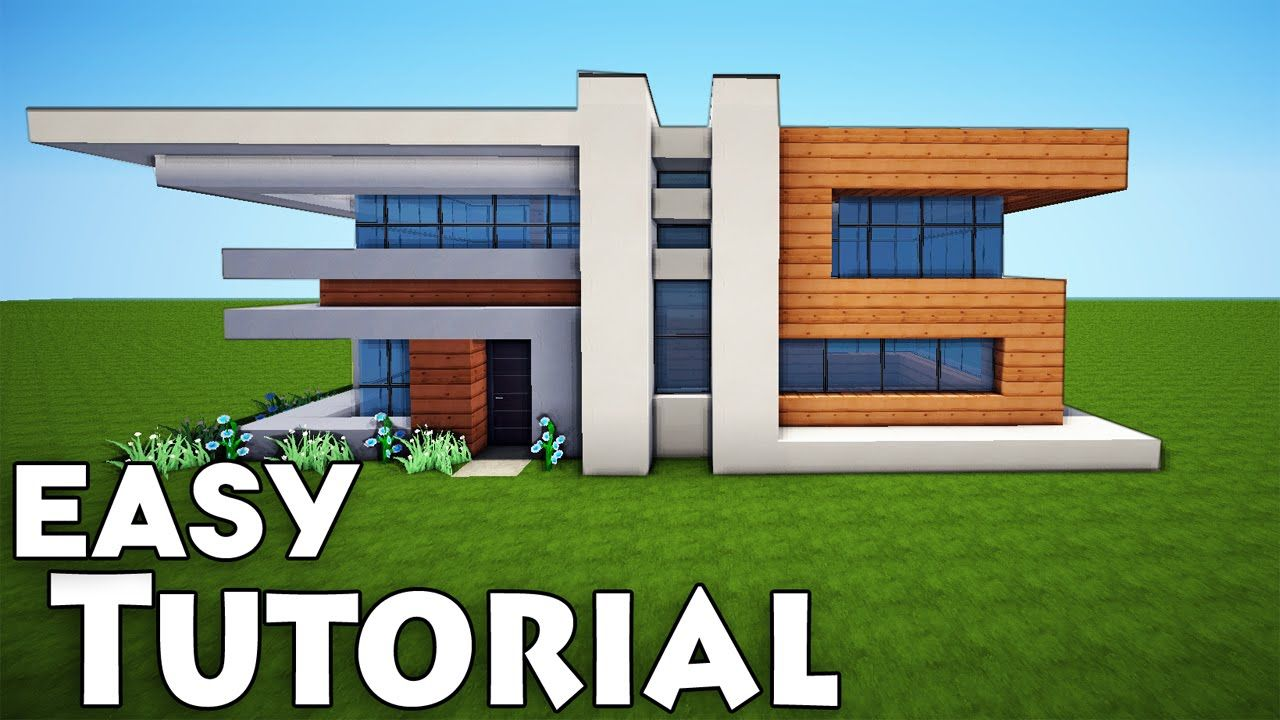 Minecraft Small Easy Modern House Tutorial How To Build A House Minecraft Modern House Blueprints Minecraft Small Modern House Modern Minecraft Houses