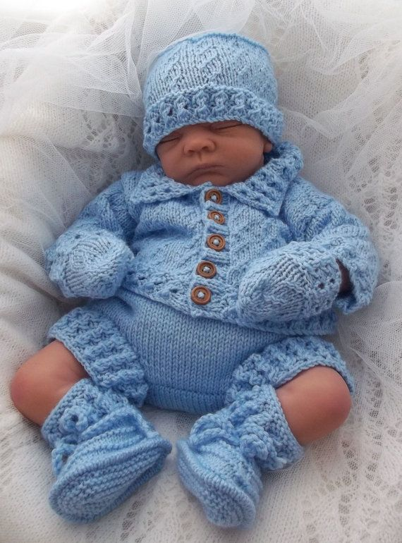 b97943d96b1 Baby Knitting Pattern Boys Girls or Reborn Dolls - Textured Jacket ...