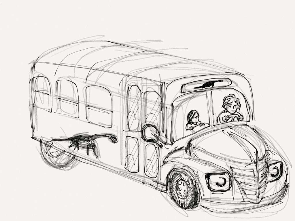 Magic school bus coloring pictures - Bus With Driver And Children Coloring Pages For Kids Printable Bus Coloring Pages For Kids