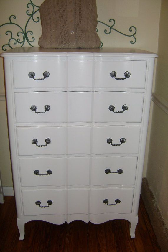 Antique White Tall Dreeser 5 Drawer Dresser Shabby Chic Cottage Simply Beautiful On Etsy 239 00 5 Drawer Dresser Drawers Shabby Chic Cottage