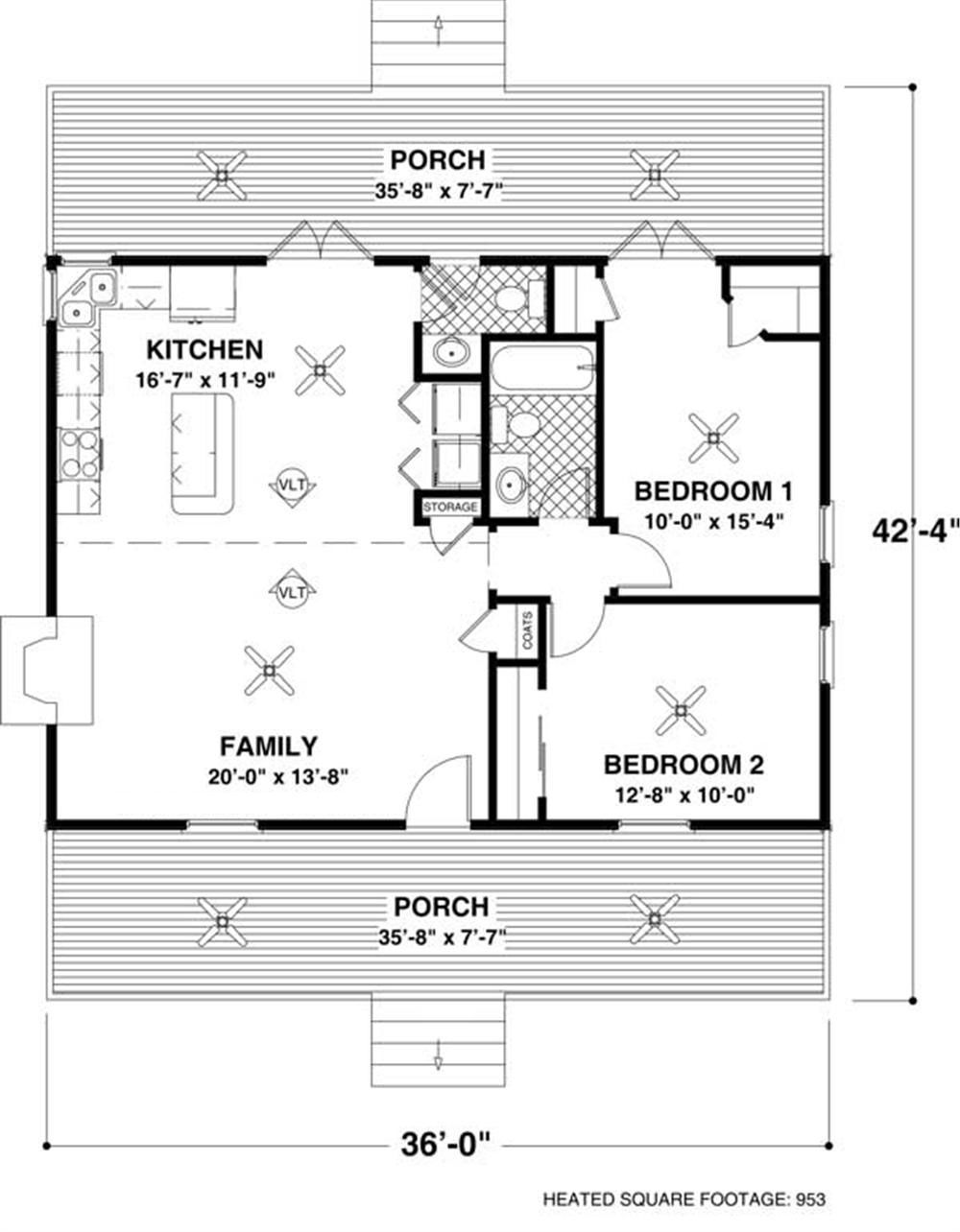 Small Ranch House Plan Two Bedroom Front Porch 109 1010 Small House Floor Plans Tiny House Plans Cottage Style House Plans