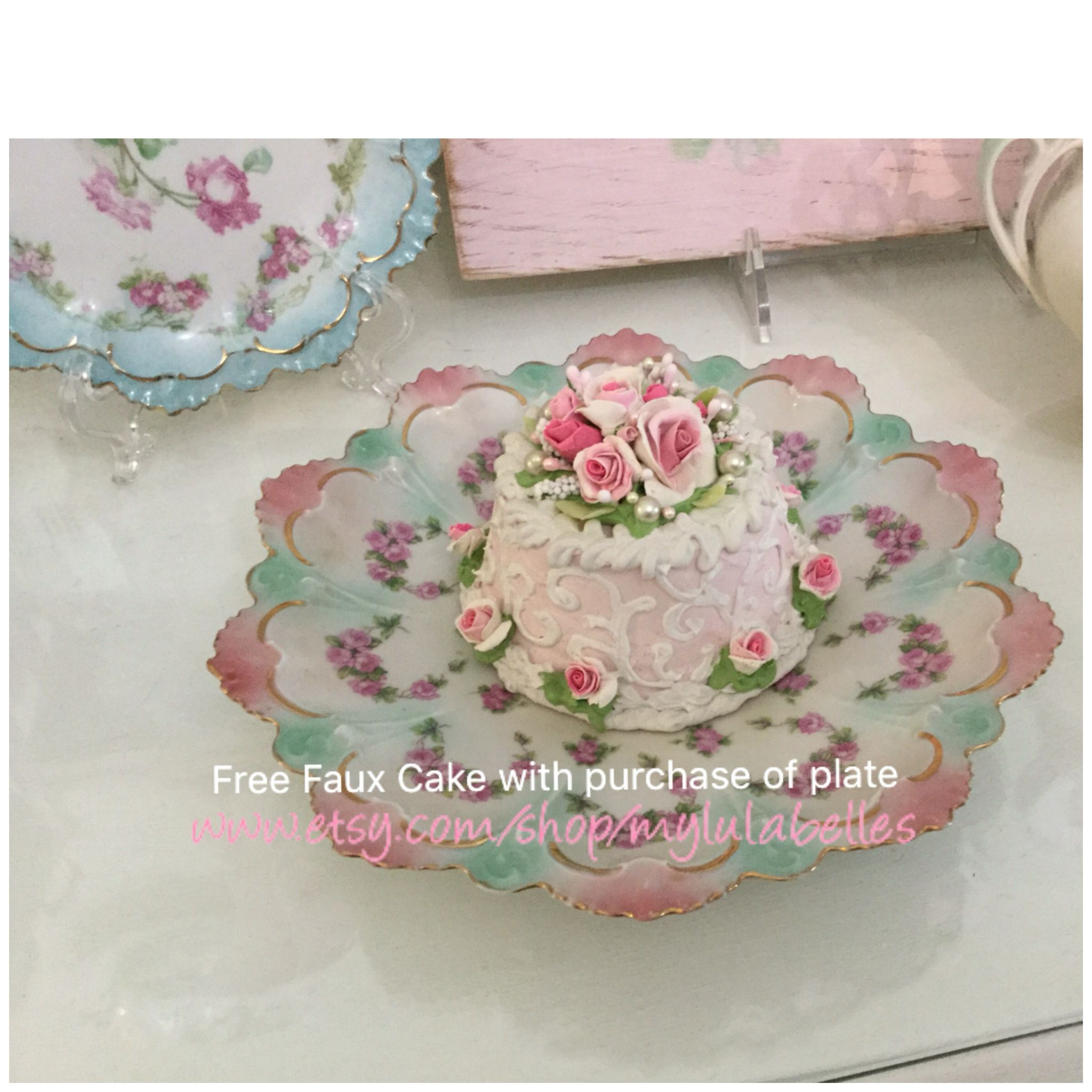 Vintage MZ Austria pink and Aqua plate with free hand made faux rose cake Www.etsy.com/shop/mylulabelles