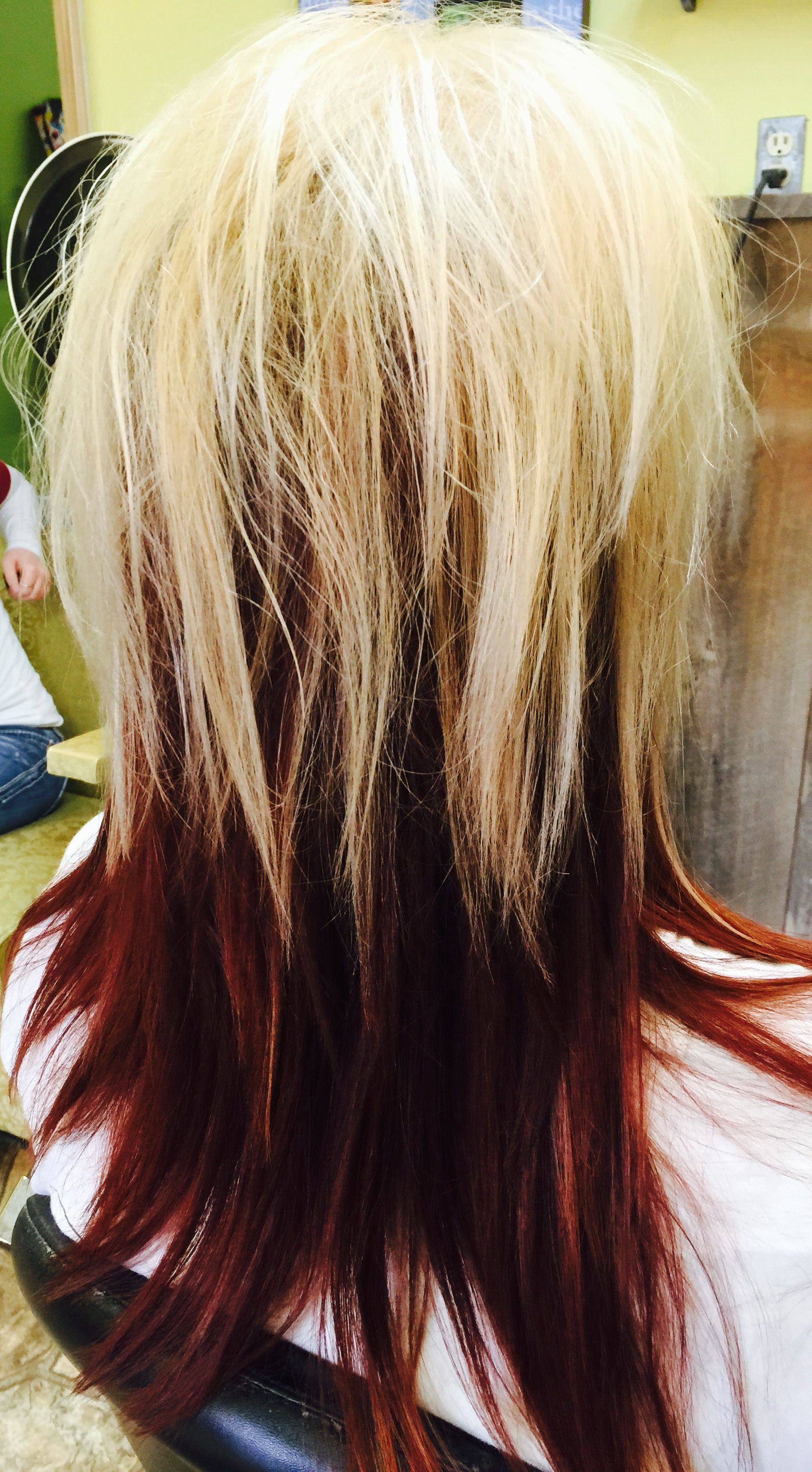 Vibrant Red Base With White Highlights Hair By Kathy Smith Ak