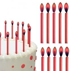 Red Flame Birthday Cake Candles 12