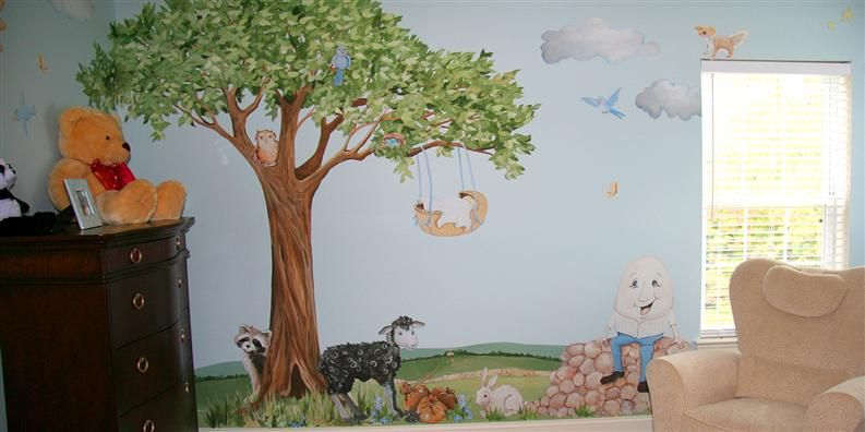 Nursery Rhyme Decals Stickers Wall Murals By Muralistick Baby Basket Cradle In Tree
