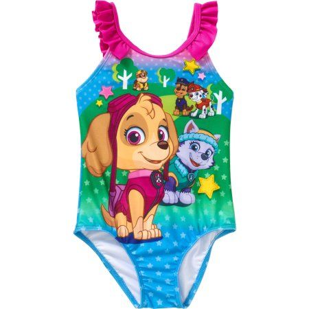 GIRLS PAW PATROL SWIMMING COSTUME SKYE CHILDRENS ONE PIECE PINK SWIM SUIT 56519