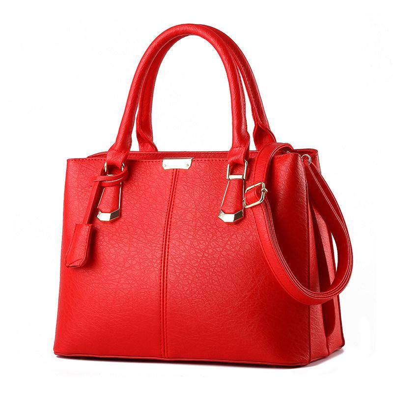 Elegant Simple Women Handbag Fashion Plain Shoulder Bag Stylish Embossing  PU Leather Large Hand Bag Ladies Red Black Party Bag. Yesterday s price  US   69.90 ... 7bf13201f176f