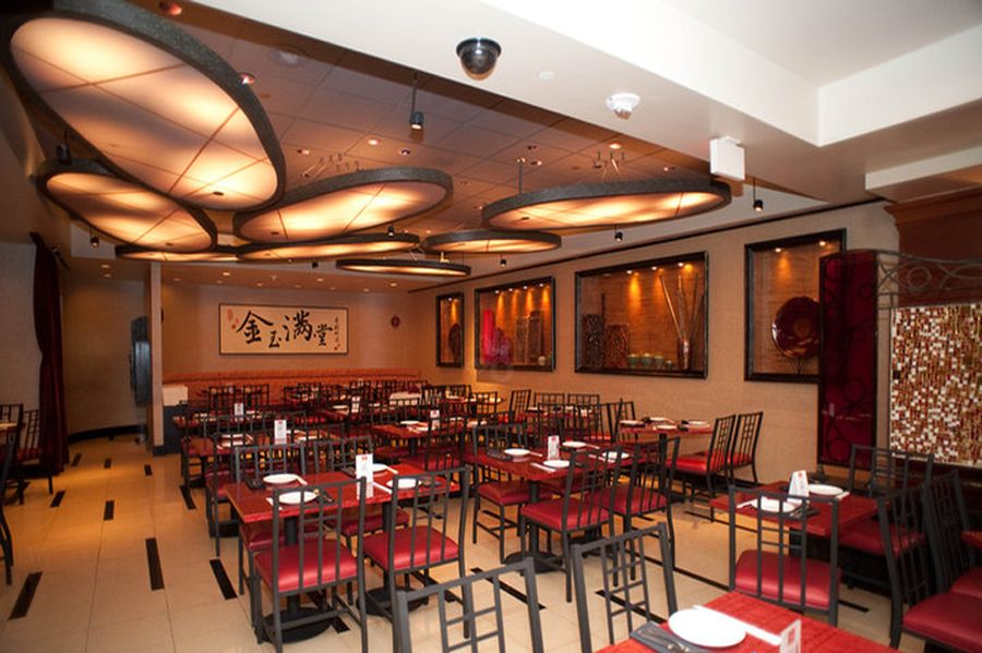 Elegant contemporary decor asian restaurant interior